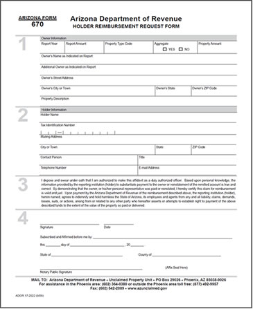 Holder Reimbursement Form Image